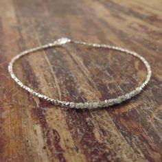 Rough Diamond Bracelet Raw Diamond Bracelets Gift for Women Girlfriend Gift April Birthstone Jewelry Womens Beaded Bracelets Bead Bracelet by TwoFeathersNY