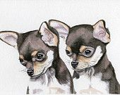 Art, Painting, Dogs, Chihuahua Puppies, 5x7 Print from Original Watercolor. Earthspalette