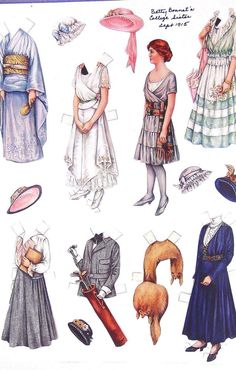 ".99 cent auction___ Rare Set Paper Doll Ca 1900 Betty Bonnet College Sister Litho Print Antique Home___ Hi there...... rare find, carefully preserved from Sept. 1915... Betty Bonnet and College Sister... paper lithograph dolls from crisply and carefully cut from the Ladies Home Journal.  These paper doll and costumes, are lightly stuck on a white heavy paper. Measures 11"" x 16""...marvelous piece to frame for the collector, or the home interior decorative art highlighting the vintage retro"