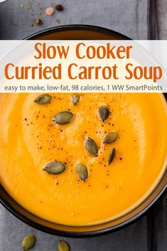 Gorgeously golden, this slow cooker curried carrot soup is as easy as it is delicious and can be easily adapted to suite different tastes! Gorgeously golden, this slow cooker curried carrot soup is as easy as it is delicious. Carrot Soup Easy, Curried Carrot Soup, Carrot Curry, Slow Cooker Curry, Vegan Slow Cooker, Slow Cooker Recipes, Cooking Recipes, Slow Cooker Soup Vegetarian, Slow Cooker Cake