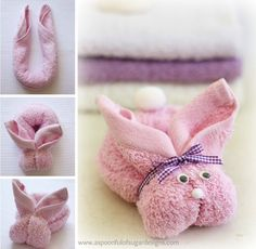 Towel Bunny--I am only pinning this because Makayla and I made them 10 or 12 years ago, and now they're on Pinterest XD