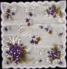 Vintage violets & Lilly of the valley hanky. Homage to the violet. Miss Lily's given name at birth was Violet. Vintage Antiques, Vintage Items, Sweet Violets, Vintage Handkerchiefs, Linens And Lace, All Things Purple, Lily Of The Valley, Vintage Love, Pansies