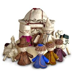 Naryn Yurt Nativity Set - super cute nativity that also helps support women and their native crafting traditions in Kyrgyzstan