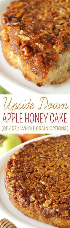 Apple Upside Down Cake with Honey (gluten-free, whole grain options and dairy-free) - Texanerin Baking Fluffy and moist upside down apple honey cake {dairy-free with gluten-free and whole grain options} Dessert Oreo, Dessert Sans Gluten, Bon Dessert, Low Carb Dessert, Gluten Free Sweets, Gluten Free Cakes, Gluten Free Baking, Gluten Free Apple Cake, Dessert Bars