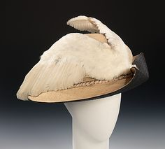 Hat 1910, American, Made of silk, straw, bird, and feathers
