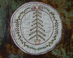 Hand Stitched Christmas Tree Candle Mat, Christmas Decoration