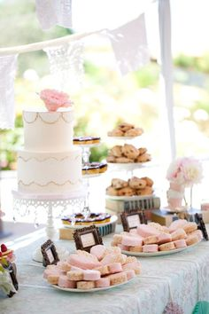 tea party bridal shower, stephanie uchima, preppy chic, dessert table, doily bunting, lace