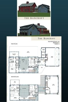 Post and Beam Prefab Contemporary Barn Home. The Bancroft comes in at 2845 sq ft w/3 bedrooms & 3.5 baths. Visit us to see more and get downloadable floor plans. #barnhomes