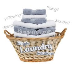 Learn these simple solutions to common laundry problems such as color transfer, stains, greying, yellowing, pilling, wrinkles and more!  http://www.budget101.com/do-yourself/solutions-common-laundry-issues-4449.html