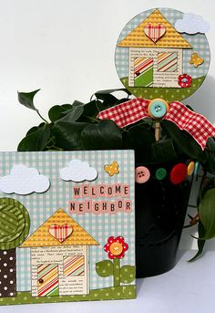 New neighbor gift using #October Afternoon's Modern Homemaker and #GlueArts adhesives. Designed by Patti Milazzo