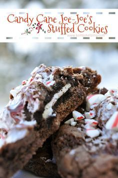 Candy Cane Joe-Joe's Stuffed Cookies... a delicious cookie sandwich then sandwiched between the most amazing chocolate, chocolate chip cookies, and sprinkled with crushed peppermints. Amazingly easy and so delicious!