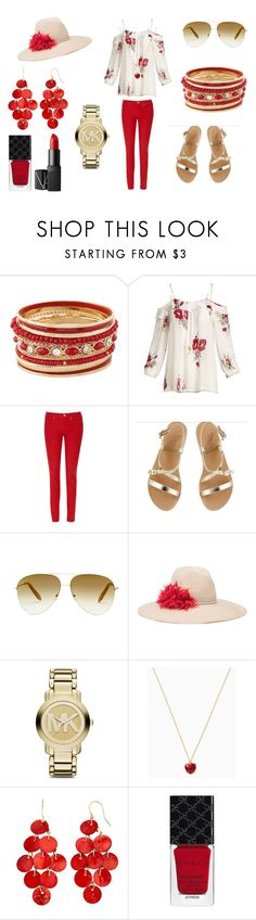 """""""Red and Gold"""" by holly32196-1 on Polyvore featuring Joie, Levi's, Ancient Greek Sandals, Victoria Beckham, Eugenia Kim, Michael Kors, Gucci, NARS Cosmetics, cute and chic"""