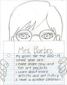 Me and My Goals Self-Portrait · Art Projects for Kids Back To School Art, Art School, School Ideas, School Fun, School Stuff, Middle School, School Art Projects, Projects For Kids, Project Ideas