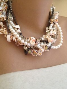 Handmade sea shell necklace with Freshwater pearls and by kirevi8