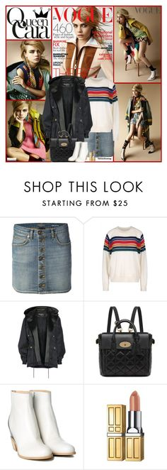 """""""Cara For British Vogue"""" by kittyfantastica ❤ liked on Polyvore featuring Yves Saint Laurent, Band of Outsiders, Balmain, Mulberry, MM6 Maison Margiela and Elizabeth Arden"""