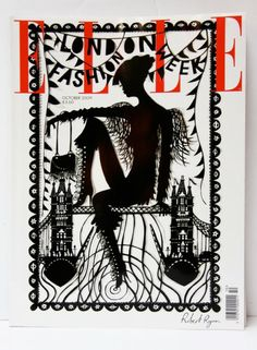 Elle limited edition cover for London fashion week—illustrated by Rob Ryan