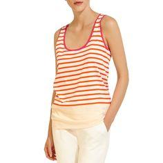 Orange/White Stripe Sleeveless Cotton Top by Petit Bateau