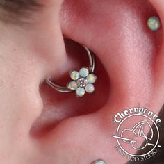 "Fresh 14g daith piercing that we did using the lovely 3/8"" titanium CBR and prong set flower end with 2mm gems from Anatometal! @anatometalinc #piercing #piercings #safepiercing #internalthreadtitanium #melbourne #melbourneiloveyou #cherrycore..."