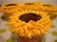 Miniature sunflower cupcakes