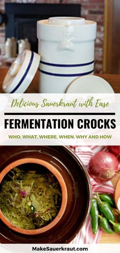 All about fermentation crocks. Who should use it, what to purchase, the best brands and where to buy, when to ferment, how to use the fermentation crock and ferment homemade sauerkraut with ease, and how to care for your crock pot. #guthealth Fermented Cabbage, Fermented Foods, Homemade Sauerkraut, Fermentation Recipes, Canning Jars, Preserving Food, Recipes For Beginners, Kimchi, Beets