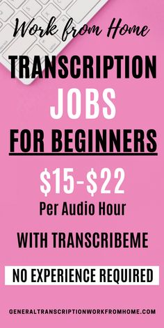 Make $15-$22 per audio hour with easy transcription jobs from home no experience. Great for beginners. You'll type what you hear on a recording. TranscribeMe has work at home transcription jobs for beginners. Get paid while learning transcription. Read my review. Transcription Jobs From Home, Transcription Jobs For Beginners, Earn Money From Home, Way To Make Money, Digital Jobs, Best Online Jobs, Legitimate Work From Home, Work From Home Opportunities, Online Income
