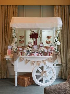 Red & White wedding cart at Quy Mill Hotel