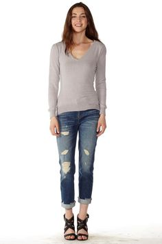Show off your curves with this #Stylish Black V-Neck Sweater  #FreeShipping #OOTD