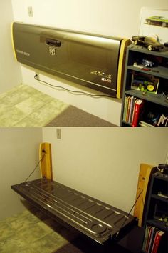 Wall mounted tail gate... need some FUN in this house! Know right where I am going to put it :) Only I will use a vintage tail gate for my project :) Original images found on motownmuscle.com