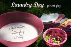 clothesline activity - bowl, pegs and cloths