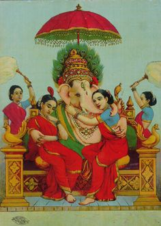 Ganesha with conserts Riddi & Siddi by Raja Ravi Varma Om Namah Shivaya, Om Gam Ganapataye Namaha, Shri Ganesh, Krishna Art, Lord Ganesha, Ganesha Art, Lord Shiva, Indian Gods, Buddha