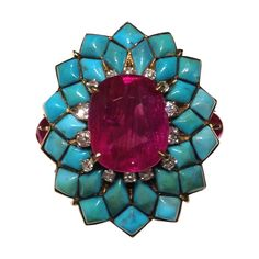 Ruby and Turquoise Ring