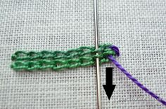 Tutorial: Whipping two adjacent rows of chain stitch produces a wide line with a rope-like center.