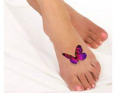 Temporary Tattoo 3D Butterflies Fake Foot Tattoo by UnrealInkShop