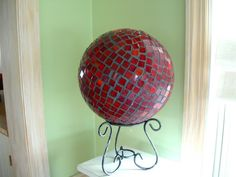 red stainglass bowling ball, this goes in your garden its a bowling ball and I mosiac red stain glass on it and tinted the grout color to charcoal gray, , Home Decor Project