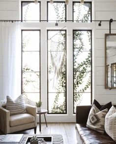 High Ceiling Living Room, Big Living Rooms, Living Room Images, Living Room Windows, Living Room Lighting, Rugs In Living Room, Living Room Designs, Living Room Decor, Porch Windows