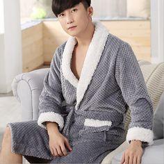 2017 New Fashion Men's Solid Color Men Robe Dragon Full Sleeve Shawl Collar Kimono Men Flannel Sleep Lounge Robes Robes