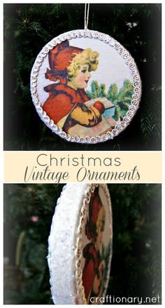 we use to make christmas ornaments like this...old canning jar lids, old christmas cards, and ribbon for adorning