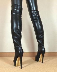 Gr.42 TOP ! Exklusiv Sexy Damen Schuhe Overknee Stiletto Stiefel Männer Boots D6 | eBay