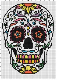 Sugar Skull 2 patterns in one! Modern cross stitch pattern is designed on 14 count Aida. It will run about 9x13 on 14 count aida and it is 126 x 178 stitches total. This is a listing for TWO patterns, one in colour, one on black and white so you can either stitch it in black and white, or colour it yourself!  This pattern will come with 2 different patterns, for printing or viewing convenience, and a handy little tips and tricks printout to help you in your quest for cross stitching…
