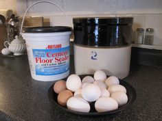 Water Glass, Crock & Eggs - a pre-refrigeration method of storing fresh eggs to use in the winter months.