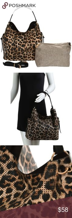 3153c2fcc6ad Leopard Perforated Handbag and Crossbody Set - Leopard Pattern Handbag,  also available in Zebra.