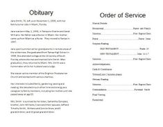 43 Best Obituary Template Images Funeral Ideas Order Of Service