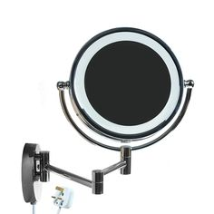 HIMRY LED Slim Make-up Mirror 8.5 Inch 7x Magnification, Stepless Adjustable Brightness, with OR without drilling ( Power LOC ), Wall Mounted Double Sided LED-Light Cosmetic Mirror with UK Plug, Foldable Swivel Bathroom Shaving Mirror, Make Up Mirror Chrome finish, KXD3121-7x: Amazon.co.uk: Kitchen & Home