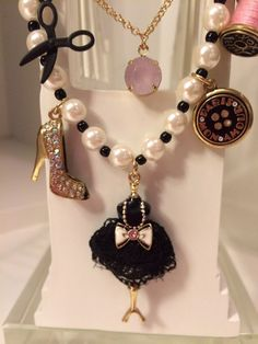 NEW! BETSEY JOHNSON Jewelry PARIS IS ALWAYS A GOOD IDEA Dress Form Necklace