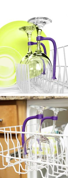 Tether // protects your breakable items eg. wine glasses, using a bungees and attachment hook to tether them onto the dishwasher rack. Genius! #product_design