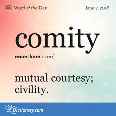 "also called comity of nations. courtesy between nations, as in respect shown by one country for the laws, judicial decisions, and institutions of another. Origin: Comity derives from the Latin term cōmis meaning ""affable."" It entered English in the The Words, Words To Use, Latin Words, Cool Words, English Vocabulary Words, Learn English Words, Vocabulary Definition, Unusual Words, Unique Words"