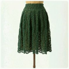 Green Tuberose Lace Skirt Green lace skirt by Moulinette Soeurs for Anthropologie. Kind of like a heavy cotton eyelet with chiffon underneath. There used to be a hook above the zipper (it came off), but otherwise in great shape. Anthropologie Skirts A-Line or Full