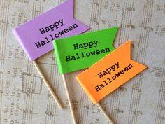 Halloween Flag Cupcake Toppers ~ Mixed Colors ~ Halloween food picks ~ Printing by StuckOnACloud on Etsy