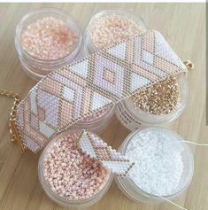 Miyuki delica beads handwoven Cuff Bracelet / / Peyote Stich / / pink white and champagne gold / / personalized pattern Bead Loom Bracelets, Bracelet Crafts, Beaded Bracelet Patterns, Bead Loom Patterns, Beading Patterns, Beading Ideas, Beaded Cuff Bracelet, Loom Bracelets, Bead Earrings