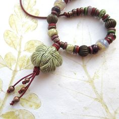 Ceramic bead necklace beaded necklace ceramic by THEAjewellery, £36.00